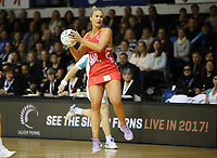 30.08.2017 England's Chelsea Pitman in action during the Quad Series netball match between the Silver Ferns and England at the Trusts Arena in Auckland. Mandatory Photo Credit ©Michael Bradley.