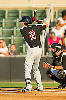 Ryan Rua (2) of the Hickory Crawdads at bat against the Kannapolis Intimidators at CMC-Northeast Stadium on July 26, 2013 in Kannapolis, North Carolina.  The Intimidators defeated the Crawdads 2-1.  (Brian Westerholt/Four Seam Images)