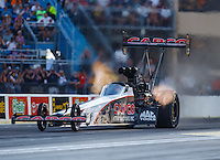 Jul 8, 2016; Joliet, IL, USA; NHRA top fuel driver Steve Torrence during qualifying for the Route 66 Nationals at Route 66 Raceway. Mandatory Credit: Mark J. Rebilas-USA TODAY Sports