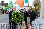 Michéal Ó Braoináin lays a wreath a the  Republican Monument in Cahersiveen on Easter Saturday as part of the Easter Commemorations pictured back l-r; Martin O'Carroll, Cllr. Damian Quigg, Paul Clifford & Frank O'Connell.