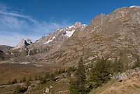 The Mont Blanc Massif from the terminal moraine of the Glacier de Miage, September 2007