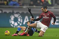 Nicolo Barella of FC Internazionale , Zlatan Ibrahimovic of AC Milan <br /> Milano 09/02/2020 Stadio San Siro <br /> Football Serie A 2019/2020 <br /> FC Internazionale - AC Milan <br /> Photo Andrea Staccioli / Insidefoto