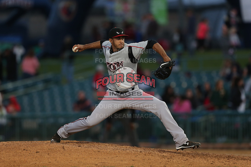 Luis Hernandez (29) of the Lake Elsinore Storm pitches during a game against the Lancaster JetHawks at The Hanger on May 9, 2015 in Lancaster, California. Lancaster defeated Lake Elsinore, 3-1. (Larry Goren/Four Seam Images)
