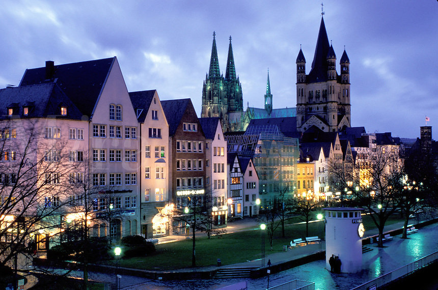 Cologne, Koln, Germany, Nordrhein-Westfalen, Rhine River, Europe, Scenic view at night of the city of Cologne (Koln) and the Cologne Cathedral (Dom) along the Rhine River.