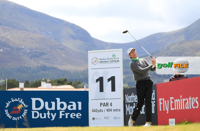 Brett Rumford (AUS) on the 11th tee during Round 1 of the 2015 Dubai Duty Free Irish Open, Royal County Down Golf Club, Newcastle Co Down, Northern Ireland. 28/05/2015<br /> Picture Thos Caffrey, www.golffile.ie