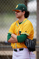 North Dakota State Bison Chris Choles (28) during warmups before a game against the Central Connecticut State Blue Devils on February 23, 2018 at North Charlotte Regional Park in Port Charlotte, Florida.  North Dakota State defeated Connecticut State 2-0.  (Mike Janes/Four Seam Images)