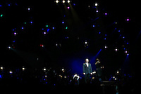 "SINGING IN DARKNESS"" Tenor  Andrea Bocelli sings under the lights at the TD Garden 2002."