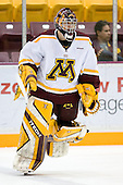 Jeff Frazee (University of Minnesota - Burnsville, MN) warms up. The University of Minnesota Golden Gophers defeated the Michigan State University Spartans 5-4 on Friday, November 24, 2006 at Mariucci Arena in Minneapolis, Minnesota, as part of the College Hockey Showcase.