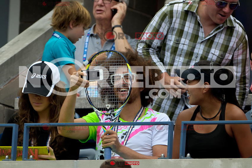 NEW YORK, NY - September 4, 2012: Stefan 'RedFoo&quot; Gordy from the musical duo LMFAO attends Day 9 of the 2012 U.S. Open Tennis Championships at the USTA Billie Jean King National Tennis Center in Flushing, Queens, New York, USA. &copy; MPI105/MediaPunch Inc. /NortePhoto.com<br />