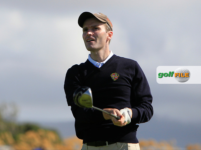 Justin Keogh (Limerick) on the 1st tee during the Munster Final of the AIG Senior Cup at Tralee Golf Club, Tralee, Co Kerry. 12/08/2017<br /> Picture: Golffile | Thos Caffrey<br /> <br /> <br /> All photo usage must carry mandatory copyright credit     (&copy; Golffile | Thos Caffrey)