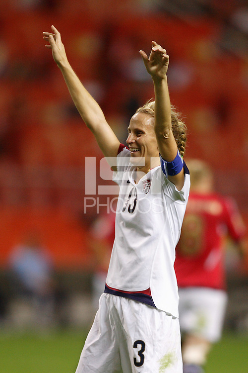 USA forward (13) Kristine Lilly celebrates a goal. The United States (USA) defeated Norway (NOR) 4-1 during the third place match of the Women's World Cup China 2007 at Shanghai Hongkou Football Stadium in Shanghai, China, on September 30, 2007.