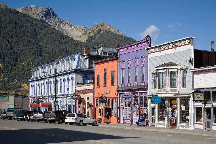 Victorian buildings line the main street through Silverton, Colorado