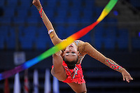 Daria Kondakova of Russia performs with ribbon at 2010 Pesaro World Cup on August 28, 2010 at Pesaro, Italy.  Photo by Tom Theobald.