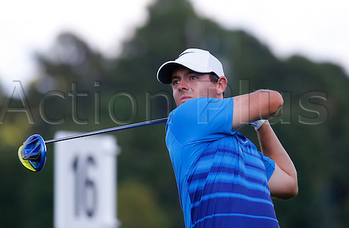 23.09.2016. Atlanta, Georgia, USA.   Rory McIlroy tees off hole #16 during the second round of the Tour Championship at the East Lake Golf Club in Atlanta, GA.