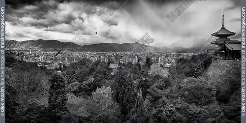 Dramatic black and white panoramic view of Kyoto autumn scenery view from Kiyomizu-dera, Sanjunoto pagoda and Kyoto tower in the city skyline with eagles flying in stormy skies. Higashiyama, Kyoto, Japan 2017.