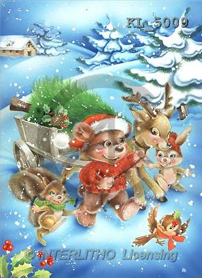 Interlitho, Nino, CHRISTMAS SANTA, SNOWMAN, paintings, animals, tree(KL5009,#X#) Weihnachtsmänner, Schneemänner, Weihnachen, Papá Noel, muñecos de nieve, Navidad, illustrations, pinturas