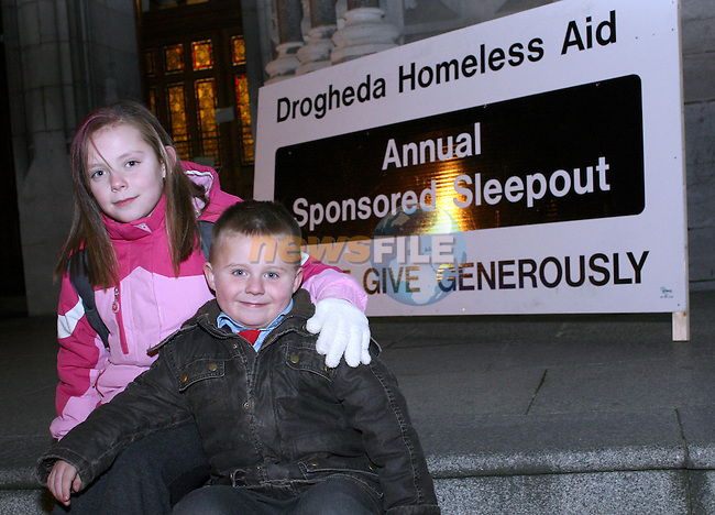 Josh and Jasmine O'Reilly at the Annual Homeless Aid Sponsored Sleepout...Photo NEWSFILE/Jenny Matthews.(Photo credit should read Jenny Matthews/NEWSFILE)....This Picture has been sent you under the condtions enclosed by:.Newsfile Ltd..The Studio,.Millmount Abbey,.Drogheda,.Co Meath..Ireland..Tel: +353(0)41-9871240.Fax: +353(0)41-9871260.GSM: +353(0)86-2500958.email: pictures@newsfile.ie.www.newsfile.ie.FTP: 193.120.102.198.