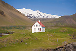 View of Snaefellsjokull Glacier and Home in Arnarstapi Village in West Iceland
