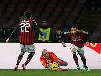 Pepe Reina durante l'incontro di calcio di Serie A  Napoli Milan allo  Stadio San Paolo  di Napoli , 08 Febbraio 2014<br /> Foto Ciro De Luca