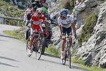 Alberto Contador and Joaquin Purito Rodriguez (l) during the stage of La Vuelta 2012 between La Robla and Lagos de Covadonga.September 2,2012. (ALTERPHOTOS/Paola Otero)