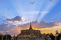 Sunset over the Grand Palace and the Grand Performance Hall, Phnom Penh, Cambodia