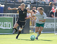 Leigh Ann Robinson (7) and Stephanie Logterman (3) chase down the ball. St. Louis Athletica defeated FC Gold Pride 1-0 at Buck Shaw Stadium in Santa Clara, California on July 5, 2009.