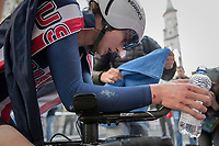 the unfortunate Neilson Powless (USA) after finishing 9th while crashing seriously along the way<br /> <br /> Men Under-23 Individual Time Trial<br /> <br /> UCI 2017 Road World Championships - Bergen/Norway