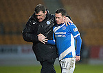 St Johnstone v Hamilton Accies…28.01.17     SPFL    McDiarmid Park<br />Danny Swanson gets a well donw from Tommy Wright as he is subbed<br />Picture by Graeme Hart.<br />Copyright Perthshire Picture Agency<br />Tel: 01738 623350  Mobile: 07990 594431