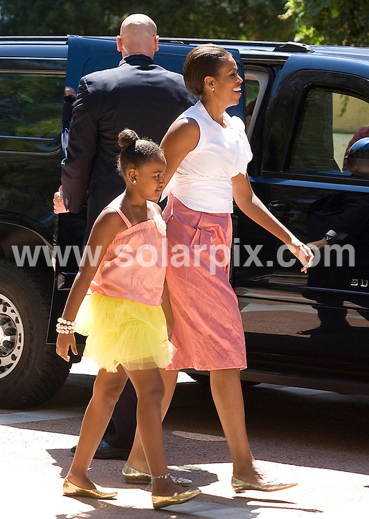 **ALL-ROUND EXCLUSIVE PICTURES FROM SOLARPIX.COM**.**WORLD SYNDICATION RIGHTS EXCEPT BELGIUM, GERMANY, HOLLAND, SCANDINAVIA, SOUTH AMERICA, SPAIN, & USA**.First Lady Michelle Obama and her daughter Sacha have lunch with the Spanish King  Juan Carlos & queen Sofia and Princess  Letizia of Asturias at the Marivent Palace in Palma mayorac in Spain Today....This pic: Michelle Obama & Sacha Obama .JOB REF: 11861    SKX      DATE:  08.08.2010.**MUST CREDIT SOLARPIX.COM OR DOUBLE FEE WILL BE CHARGED**.**MUST AGREE FEE BEFORE ONLINE USAGE**.**CALL US ON: +34 952 811 768 or LOW RATE FROM UK 0844 617 7637**