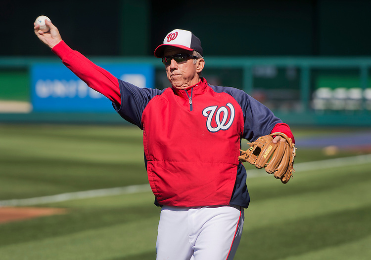 UNITED STATES - APRIL 25: Davey Johnson, Washington Nationals manager, warms up during batting practice before Thursday's at Nationals Park.  (Photo By Tom Williams/CQ Roll Call)