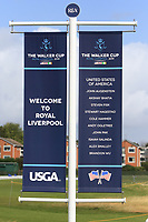 Sign with USA Team names at the 1st tee during the preview round at the Walker Cup, Royal Liverpool Golf CLub, Hoylake, Cheshire, England. 06/09/2019.<br /> Picture Thos Caffrey / Golffile.ie<br /> <br /> All photo usage must carry mandatory copyright credit (© Golffile | Thos Caffrey)