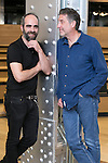 """Luis Tosar (Left) and Emlio Aragon (Right) attend the presentation of the movie """"Una noche en el viejo mexico"""" at Fundacion Telefonica Building in Madrid, Spain. May 06, 2014. (ALTERPHOTOS/Carlos Dafonte)"""