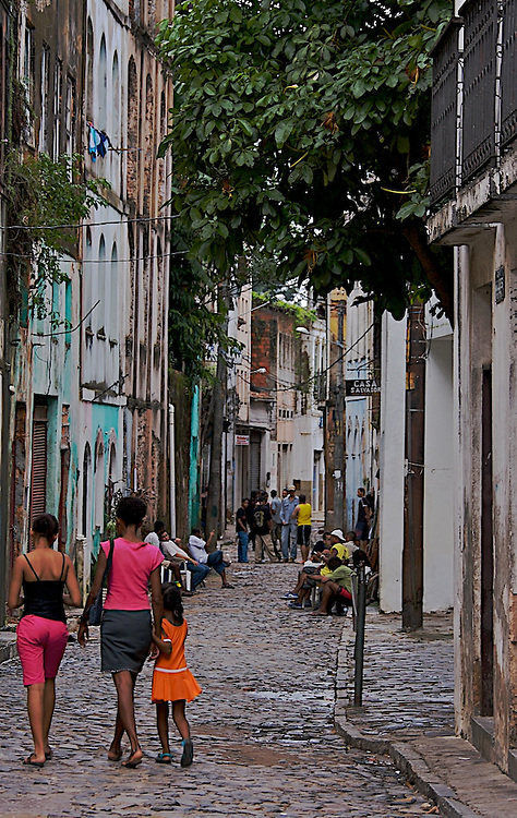 Street shots from Pelourinho in Salvador, Bahia (Brazil).  The Pelourinho is the biggest baroque architectural center of the Americas, and it's a historical protected area by the United Nations.