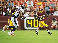 Landover, MD - August 24, 2018: Washington Redskins running back Adrian Peterson (26) runs for a big gain during preseason game between the Denver Broncos and Washington Redskins at FedEx Field in Landover, MD. The Broncos defeat the Redskins 29-17. (Photo by Phillip Peters/Media Images International)