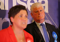 Pictured: Conservative candidate Byron Davies (R) looks on as Labour candidate for Gower constituency Tonia Antoniazzi gives a speech after her win was announced.  Friday 09 June 2017<br />