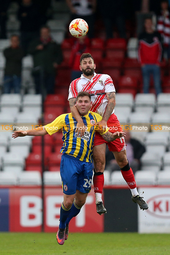 Billy Kee of Accrington Stanley and Dean Wells of Stevenage during Stevenage vs Accrington Stanley, Sky Bet EFL League 2 Football at the Lamex Stadium on 6th May 2017