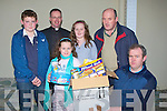 BAZAAR: The O'Donoghue family from Ballymacelligott who were the first winners of the Ballymacelligott Bazaar on Sunday in St Brendan's Community Centre, Ballymacelligott, L-r: Niel Crowley, Fr Pat Crean Lynch, Danelle,Michaela and Michael O'Donoghue and Francis Chute........................ ..........