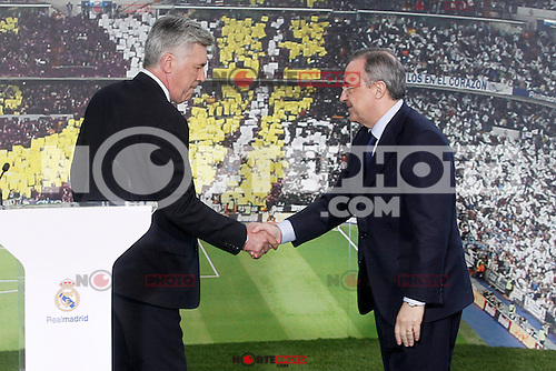 Real Madrid's new coach Carlo Ancelotti with the President Florentino Perez during his official presentation.June 26, 2013. (ALTERPHOTOS/Acero) .<br /> &copy;NortePhoto