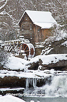 67395-04316 Glade Creek Grist Mill in winter, Babcock State Park, WV