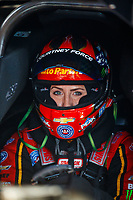 Sep 29, 2017; Madison , IL, USA; NHRA funny car driver Courtney Force during qualifying for the Midwest Nationals at Gateway Motorsports Park. Mandatory Credit: Mark J. Rebilas-USA TODAY Sports