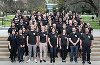 Staff gather for the Student Affairs Division group photos on May 1, 2019 at Mullin Grove in front of Gilman Fountain.<br /> (Photo by Marc Campos, Occidental College Photographer)