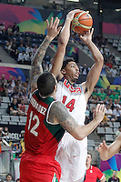 USA's Anthony Davis (r) and Mexico's Hector Hernandez during 2014 FIBA Basketball World Cup Round of 16 match.September 6,2014.(ALTERPHOTOS/Acero)