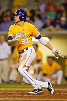 JaCoby Jones #23 of the LSU Tigers follows through on his swing against the Wake Forest Demon Deacons at Alex Box Stadium on February 18, 2011 in Baton Rouge, Louisiana.  The Tigers defeated the Demon Deacons 15-4.  Photo by Brian Westerholt / Four Seam Images
