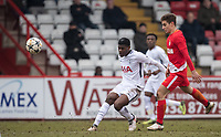 Timothy Eyoma of Spurs U19 during the UEFA Youth League round of 16 match between Tottenham Hotspur U19 and Monaco at Lamex Stadium, Stevenage, England on 21 February 2018. Photo by Andy Rowland.