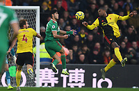 1st January 2020; Vicarage Road, Watford, Hertfordshire, England; English Premier League Football, Watford versus Wolverhampton Wanderers; Christian Kabasele of Watford competes for the ball with Raul Jimenez of Wolverhampton Wanderers in the penalty area - Strictly Editorial Use Only. No use with unauthorized audio, video, data, fixture lists, club/league logos or 'live' services. Online in-match use limited to 120 images, no video emulation. No use in betting, games or single club/league/player publications