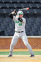 TJ Diffenderfer (44) of the Marshall Thundering Herd at bat against the Wake Forest Demon Deacons at Wake Forest Baseball Park on February 17, 2014 in Winston-Salem, North Carolina.  The Demon Deacons defeated the Thundering Herd 4-3.  (Brian Westerholt/Four Seam Images)