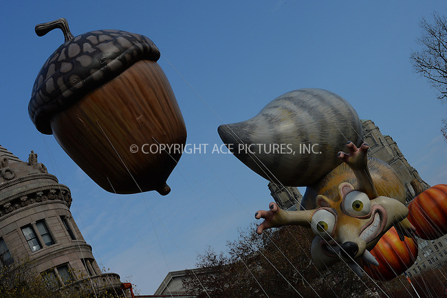 www.acepixs.com<br /> <br /> November 24 2016, New York City<br /> <br /> The Scrat from Ice Age balloon at the 90th Annual Macy's Thanksgiving Day Parade on November 24, 2016 in New York City. <br /> <br /> By Line: Kristin Callahan/ACE Pictures<br /> <br /> <br /> ACE Pictures Inc<br /> Tel: 6467670430<br /> Email: info@acepixs.com<br /> www.acepixs.com