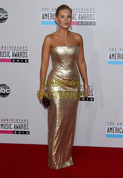 Elisha Cuthbert .40th Anniversary American Music Awards - Arrivals held at Nokia Theatre L.A. Live, Los Angeles, California, USA..November 18th, 2012.AMA AMAs full length dress  gold strapless sequins sequined .CAP/ADM/RE.©Russ Elliot/AdMedia/Capital Pictures.