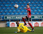 Jade Pennock of Sheffield Utd chips the ball towards goal during the The FA Women's Championship match at the Proact Stadium, Chesterfield. Picture date: 8th December 2019. Picture credit should read: Simon Bellis/Sportimage