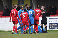 Tempers flare after a foul on Michael Dixon of Barking during Barking vs South Park, BetVictor League South Central Division Football at Mayesbrook Park on 7th March 2020